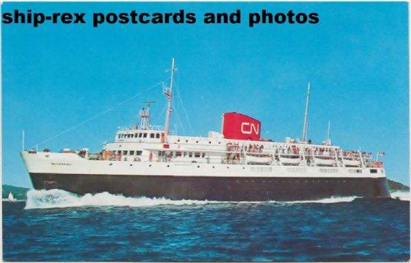 BLUENOSE (1956b, Canadian National) postcard (a)
